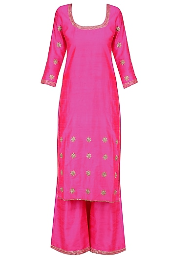 Pink Foil Dot Work Kurta Set by Surendri by Yogesh Chaudhary