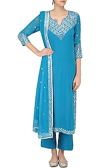 Light Blue Foil Dots Work Kurta Set by Surendri by Yogesh Chaudhary