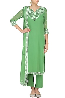 Light Green Foil Dots Work Kurta Set by Surendri by Yogesh Chaudhary