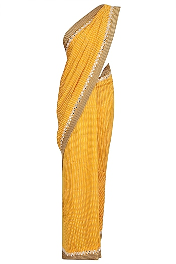 Yellow Foil Dot Work Printed Saree with Off-Shoulder Blouse by Surendri by Yogesh Chaudhary