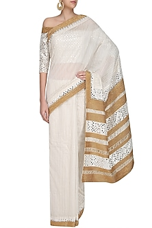 Off White Foil Dot Work Printed Saree with Off-Shoulder Blouse by Surendri by Yogesh Chaudhary