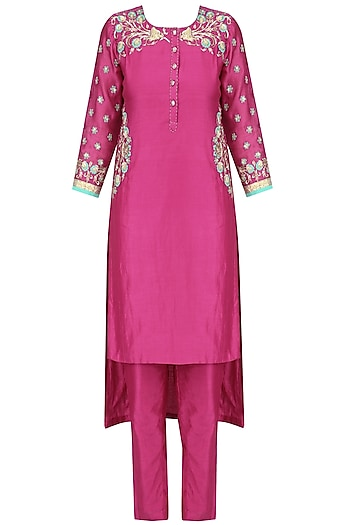 Pink Floral Embroidered Chanderi Asymmetrical Suit Set by Surendri by Yogesh Chaudhary