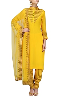 Yellow and Gold Lace Work Kurta with Straight Pants by Surendri by Yogesh Chaudhary