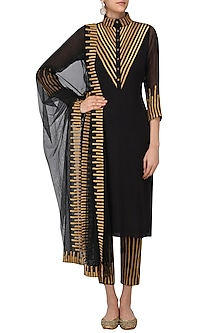 Black and Gold Lace Work Kurta with Straight Pants by Surendri by Yogesh Chaudhary