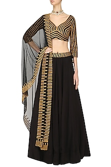 Black and Gold Lace Work Lehenga Set by Surendri by Yogesh Chaudhary