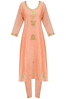 Peach Maroodi Embroidered Kurta Set with Mint Dupatta by Surendri by Yogesh Chaudhary