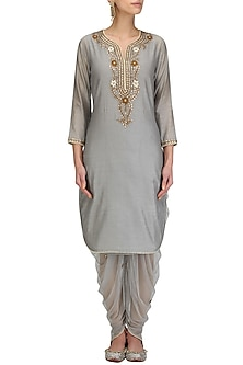 Grey Floral Maroodi Embroidered Kurta and Dhoti Pants Set by Surendri by Yogesh Chaudhary