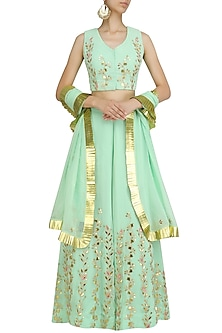 Pista Green Gota Patti Work Lehenga and Blouse Set by Surendri by Yogesh Chaudhary