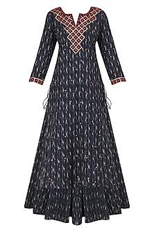 Indigo Blue Ikkat Print Kurta and Skirt Set by Surendri by Yogesh Chaudhary