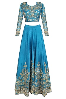 Turquoise Blue Zari Embroidered Lehenga and Blouse Set by Surendri by Yogesh Chaudhary