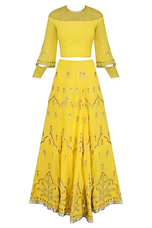 Yellow Gota Patti Embroidered Lehenga and Blouse Set by Surendri by Yogesh Chaudhary