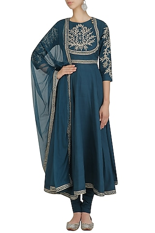 Turquoise Blue Zari Embroidered Anarkali Set by Surendri by Yogesh Chaudhary