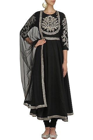 Black Zari Embroidered Anarkali Set by Surendri by Yogesh Chaudhary