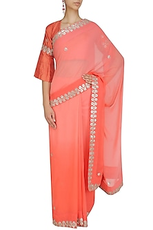 Orange Gota Patti Work Saree with Bell Sleeves Blouse by Surendri by Yogesh Chaudhary
