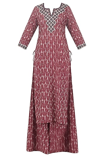 Rust Ikkat Print Kurta and Sharara Pants Set by Surendri by Yogesh Chaudhary