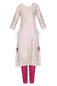 Off White and Violet Embroidered Kurta Set by Surendri by Yogesh Chaudhary