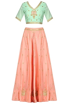 Pista Green Bloue and Peach Gota Patti Work Lehenga Set by Surendri by Yogesh Chaudhary
