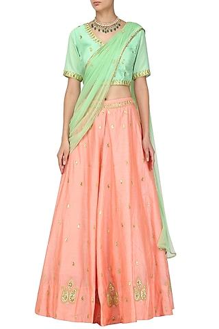 Pista Green Bloue and Peach Gota Patti Work Lehenga Set by Surendri by Yogesh Chaudhary