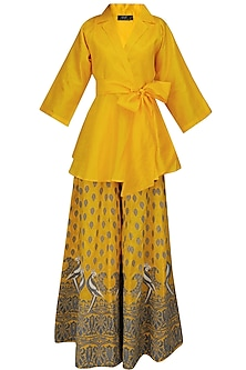 Yellow Mithu Embroidered Kimono Top and Sharara Set by Surendri by Yogesh Chaudhary