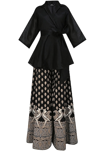 Black Mithu Embroidered Kimono Top and Sharara Set by Surendri by Yogesh Chaudhary