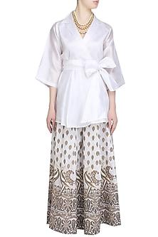 White Mithu Embroidered Kimono Top and Sharara Set by Surendri by Yogesh Chaudhary