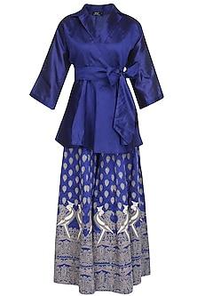 Blue Mithu Embroidered Kimono Top and Sharara Set by Surendri by Yogesh Chaudhary