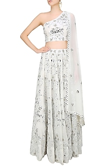 White Foil Embroidered One Shoulder Blouse and Lehenga Skirt Set by Surendri by Yogesh Chaudhary