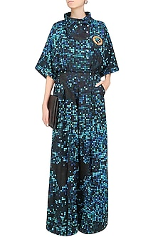 Blue and Black Pixel Printed Jumpsuit by Surendri by Yogesh Chaudhary