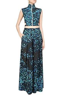 Blue Pixel Printed Crop Top and Pants Set by Surendri by Yogesh Chaudhary