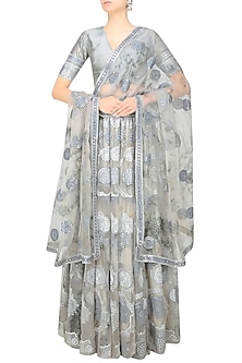 Grey Moon Print and Foil Work Layered Lehenga Set by Surendri by Yogesh Chaudhary