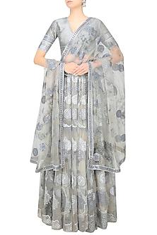 Grey Moon Print and Foil Work Layered Lehenga Set by Surendri by Yogesh Chaudhary