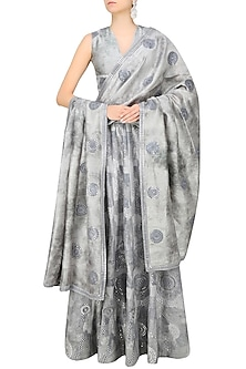Grey Moon Foil Embroidered Lehenga Set by Surendri by Yogesh Chaudhary