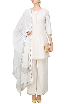 Off White Foil Embroidered Kurta and Sharara Pants Set by Surendri by Yogesh Chaudhary