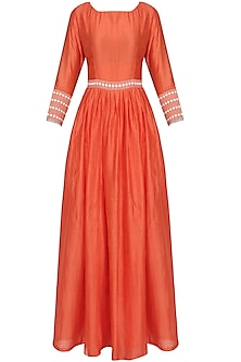 Orange Flared Anarkali Suit with Dots Embroidered Dupatta by Surendri by Yogesh Chaudhary