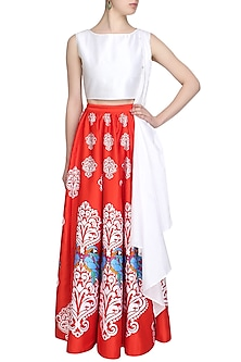 Red Mithu Printed Skirt and White Crop Top Set by Surendri by Yogesh Chaudhary