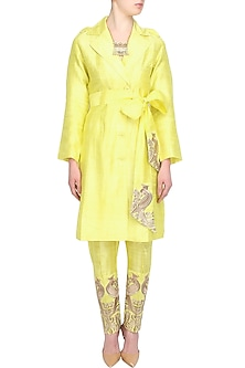 Lime Green Mithu Embroidered Jacket and Pants Set by Surendri by Yogesh Chaudhary