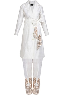 White Mithu Embroidered Jacket and Pants Set by Surendri by Yogesh Chaudhary