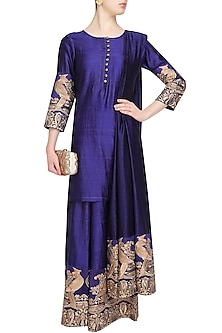 Dark Blue Mithu Embroidered Short Kurta and Palazzo Set by Surendri by Yogesh Chaudhary