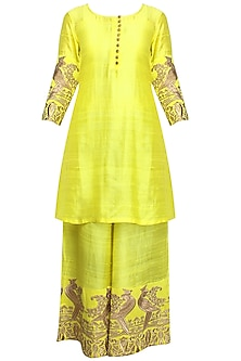 Lime Green Mithu Embroidered Short Kurta and Palazzo Pants Set by Surendri by Yogesh Chaudhary