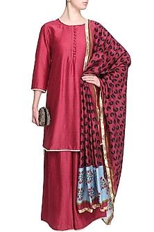 Maroon Chanderi Short Kurta and Palazzo Pants Set by Surendri by Yogesh Chaudhary