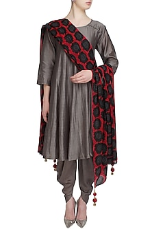 Grey Chanderi Short Kurta and Dhoti Pants with Maroon Sunflower Dupatta  by Surendri by Yogesh Chaudhary