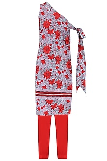 Red and Blue Floral Print Embroidered Tunic with Straight Pants by Surendri by Yogesh Chaudhary