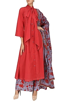 Red and Blue Floral Print Embroidered Flared Kurta Set by Surendri by Yogesh Chaudhary