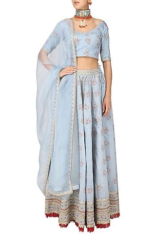 Powder Blue Embroidered Lehenga Set by Surendri by Yogesh Chaudhary