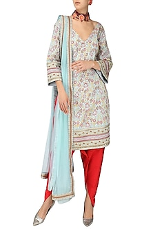 Powder Blue Embroidered Kurta with Red Dhoti Pants Set by Surendri by Yogesh Chaudhary