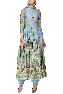 Powder Blue Hand Printed Anarkali Set by Surendri by Yogesh Chaudhary