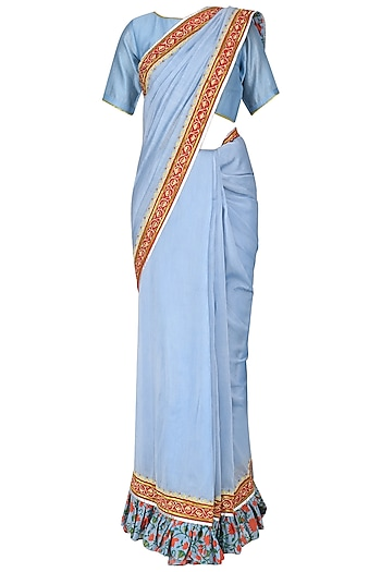 Powder Blue Hand Printed and Embroidered Saree with Blouse by Surendri by Yogesh Chaudhary