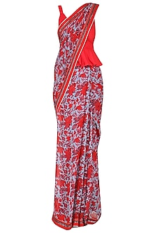 Red and Blue Floral Printed Saree with Peplum Blouse by Surendri by Yogesh Chaudhary