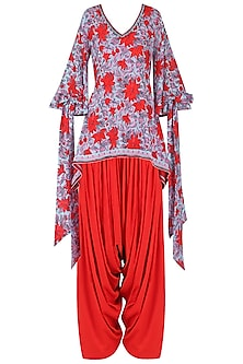Red and Blue Floral Printed and Embroidered Kurta with Red Cowl Pants by Surendri by Yogesh Chaudhary