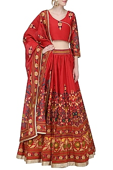 Red Hand Printed Metallic Trim Lehenga Set by Surendri by Yogesh Chaudhary